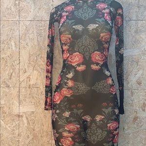 Guess floral women's Dress.Turtleneck, long sleeve